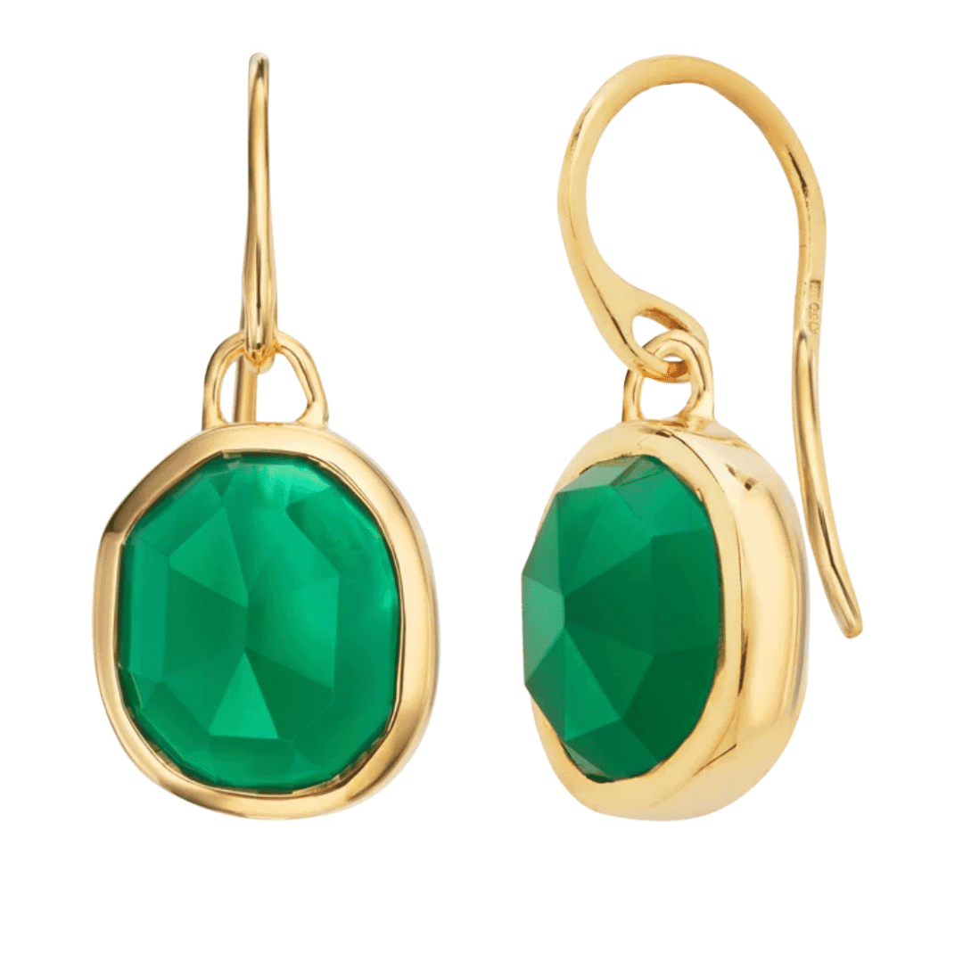 Monica Vinader - Siren Wire Earrings 18ct Gold Plated Vermeil in Green Onyx
