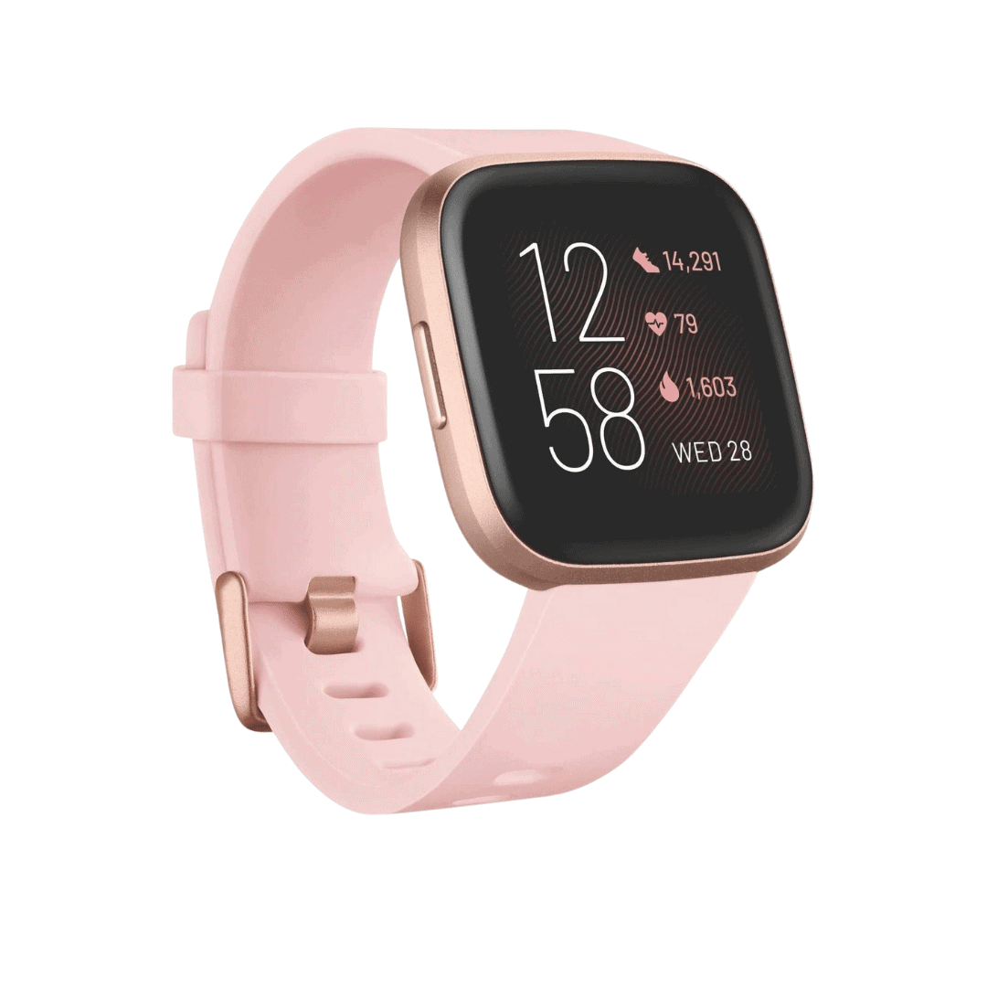 Fitbit - Versa 2 Health & Fitness Smartwatch with Voice Control, Sleep Score & Music, One Size, Petal/Copper Rose