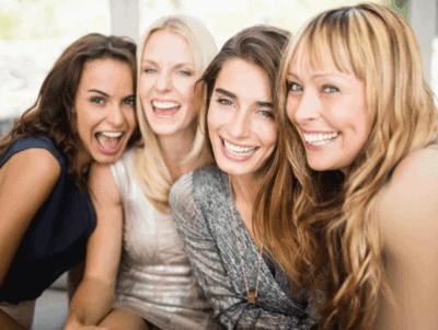 happy ladies smiling