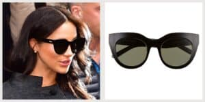 le specs sunglasses cat eye air heart worn by meghan markle, recommended to cover bruising after botox and dermal filler